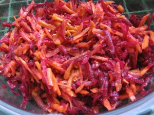 Carrot salad with pickled beets.